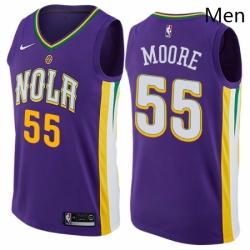 Mens Nike New Orleans Pelicans 55 ETwaun Moore Swingman Purple NBA Jersey City Edition