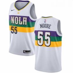 Mens Nike New Orleans Pelicans 55 ETwaun Moore Swingman White NBA Jersey City Editio