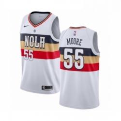 Mens Nike New Orleans Pelicans 55 ETwaun Moore White Swingman Jersey Earned Editio
