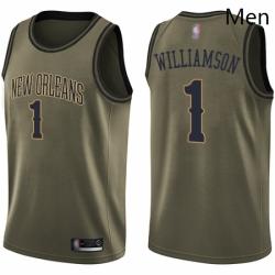 Nike New Orleans Pelicans 1 Zion Williamson Green NBA Swingman Salute to Service Jersey