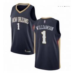Nike New Orleans Pelicans 1 Zion Williamson Navy NBA Swingman Icon Edition Jersey