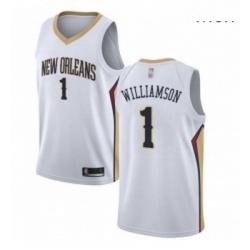 Nike New Orleans Pelicans 1 Zion Williamson White NBA Swingman Association Edition Jersey