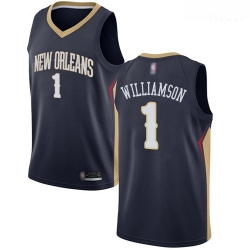 Pelicans #1 Zion Williamson Navy Basketball Swingman Icon Edition Jersey