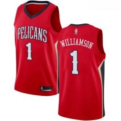 Pelicans #1 Zion Williamson Red Basketball Swingman Statement Edition Jersey