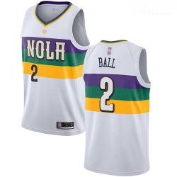 Pelicans #2 Lonzo Ball White Basketball Swingman City Edition 2018 19 Jersey