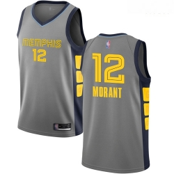 Grizzlies #12 Ja Morant Gray Basketball Swingman City Edition 2018 19 Jersey
