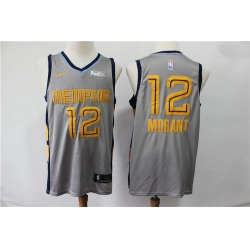 Grizzlies 12 Ja Morant Gray City Edition Nike Swingman Jersey