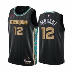 Men Nike Memphis Grizzlies 12 Ja Morant Black NBA Swingman 2020 21 City Edition Jersey