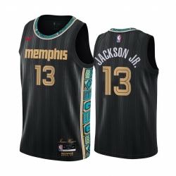 Men Nike Memphis Grizzlies 13 Jaren Jackson Jr  Black NBA Swingman 2020 21 City Edition Jersey