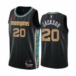 Men Nike Memphis Grizzlies 20 Josh Jackson Black NBA Swingman 2020 21 City Edition Jersey