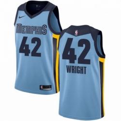 Mens Nike Memphis Grizzlies 42 Lorenzen Wright Swingman Light Blue NBA Jersey Statement Edition