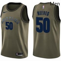 Mens Nike Memphis Grizzlies 50 Bryant Reeves Swingman Green Salute to Service NBA Jersey