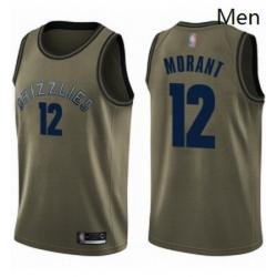 Nike Memphis Grizzlies 12 Ja Morant Green Basketball Swingman Salute to Service Jersey