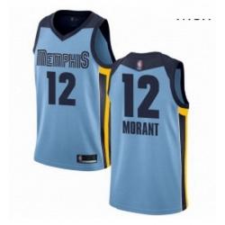 Nike Memphis Grizzlies 12 Ja Morant Light Blue Basketball Swingman Statement Edition Jersey