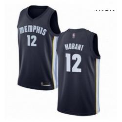 Nike Memphis Grizzlies 12 Ja Morant Navy Blue Basketball Swingman Icon Edition Jersey