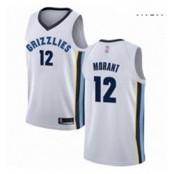 Nike Memphis Grizzlies 12 Ja Morant White Basketball Swingman Association Edition Jersey