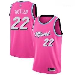 Heat #22 Jimmy Butler Pink Basketball Swingman Earned Edition Jersey