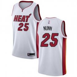 Heat  25 Kendrick Nunn White Basketball Swingman Association Edition Jersey