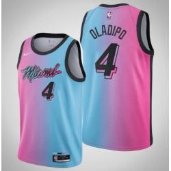 Men 2021 Miami Heat Victor Oladipo 4 Pink Blue City Jersey