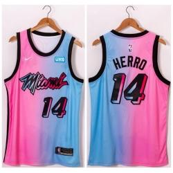 Men Miami Heat 14 Tyler Herro Blue Pink Nike 2021 City Edition Swingman Jersey