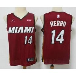 Men Miami Heat 14 Tyler Herro Red 2020 Brand Jordan Swingman Stitched NBA Jersey With The NEW Sponsor Logo