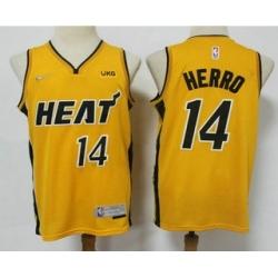 Men Miami Heat 14 Tyler Herro Yellow Nike Swingman 2021 Earned Edition Stitched Jersey With NEW Sponsor Logo