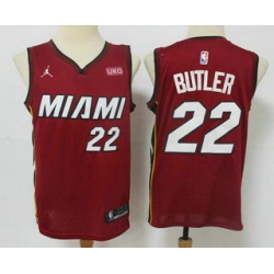Men Miami Heat 22 Jimmy Butler Red 2020 Brand Jordan Swingman Stitched NBA Jersey With The NEW Sponsor Logo