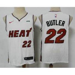 Men Miami Heat 22 Jimmy Butler White 2021 Nike Swingman Stitched NBA Jersey With The NEW Sponsor Logo