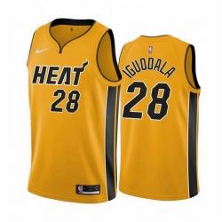 Men Miami Heat 28 Andre Iguodala Yellow NBA Swingman 2020 21 Earned Edition Jersey