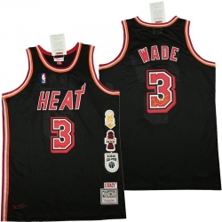 Men Miami Heat 3 Dwyane Wade Black honor Throwback Jerseys