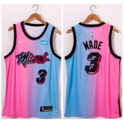 Men Miami Heat 3 Dwyane Wade Blue Pink Nike 2021 City Edition Swingman Jersey