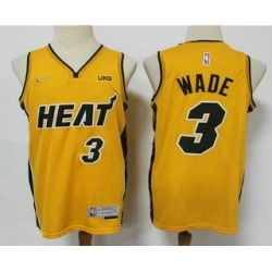 Men Miami Heat 3 Dwyane Wade Yellow Nike Swingman 2021 Earned Edition Stitched Jersey With NEW Sponsor Logo