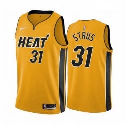 Men Miami Heat 31 Max Strus Yellow NBA Swingman 2020 21 Earned Edition Jersey