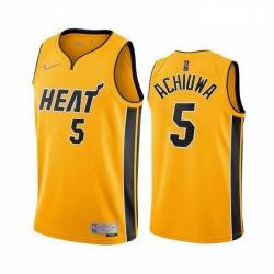 Men Miami Heat 5 Precious Achiuwa Yellow NBA Swingman 2020 21 Earned Edition Jersey