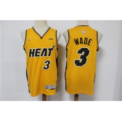 Men Miami Heat Dwyane Wade 3 Yellow Swingman Stitched NBA Jersey