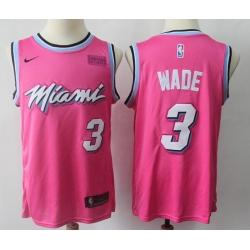 Men Miami Heat Dwyane Wade Pink 2018 19 Earned Edition Swingman Stitched NBA Jersey
