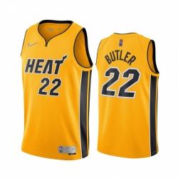 Men Miami Heat Jimmy Butler 22 2021 Earned Jersey Yellow