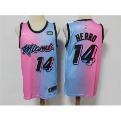 Men Nike Miami Heat 14 Tyler Herro Blue Pink Nike 2021 City Edition Swingman Jersey