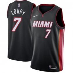 Men Nike Miami Heat 7 Kyle Lowry Black NBA Swingman Icon Edition Jersey