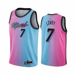 Men Nike Miami Heat 7 Kyle Lowry Blue Pink NBA Swingman 2020 21 City Edition Jersey