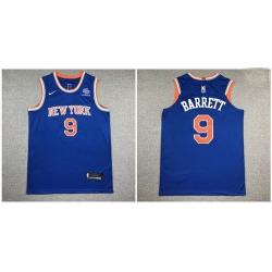 Knicks 9 R J  Barrett Blue Nike Authentic Jersey