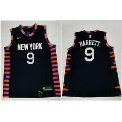 Knicks 9 R J  Barrett Navy City Edition Nike Swingman Jersey
