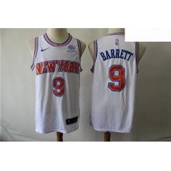 Knicks 9 R J  Barrett White Nike Swingman Jersey