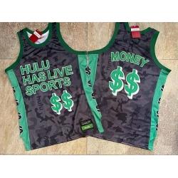 Men Hulu Has Live Sports Black $$ Money Stitched Basketball Jersey