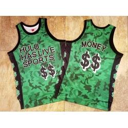 Men Hulu Has Live Sports Green $$ Money Stitched Basketball Jersey