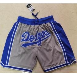 Men Los Angeles Dodgers Team Logo Gray Pocket Baseball Shorts