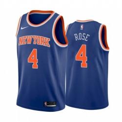 Men New York Knicks Derrick Rose 4 Icon Edition Blue Jersey