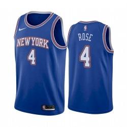 Men New York Knicks Derrick Rose 4 Statement Edition Blue Jersey