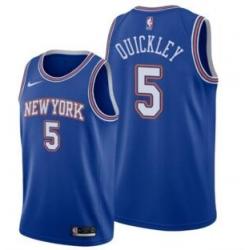 Men's New York Knicks Immanuel Quickley Blue 2021 Statement Jersey