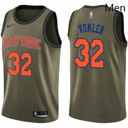 Mens Nike New York Knicks 32 Noah Vonleh Swingman Green Salute to Service NBA Jersey